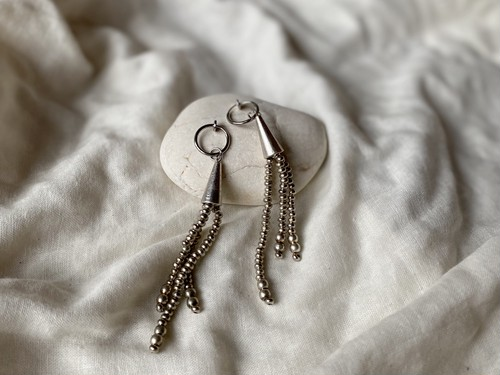silver beads fringe pierce/earrings