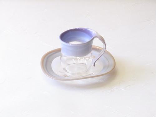 日本製 手作り 耐熱ガラス  カップ&ソーサー 紫