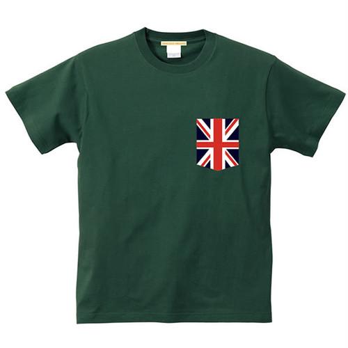 お揃い・ペアルック、メンズ、レディース 国旗プリント ポケット Tシャツ 半袖 | イギリス 国旗 ユニオンジャック ビックポケット 英国 5.6オンス| ◎|トップス ミュージック パンク ロック UK