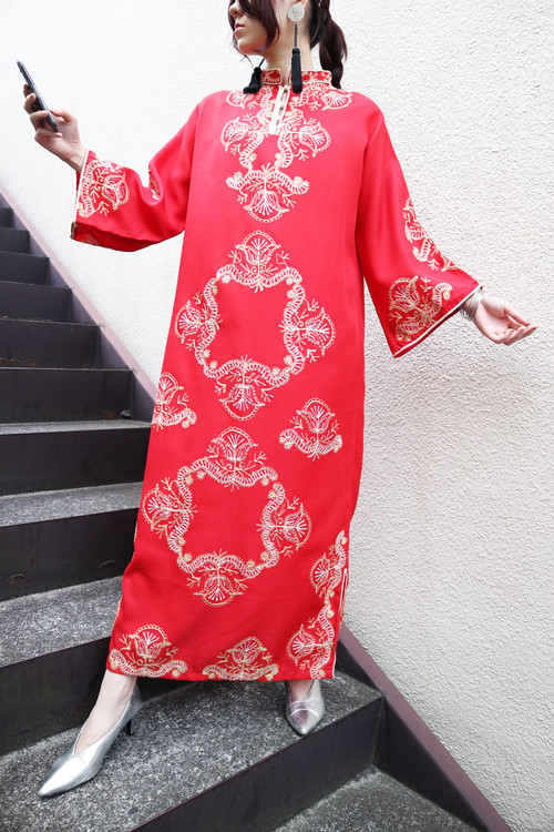 Red embroidered ethnic dress