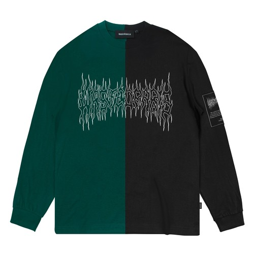 WASTED PARIS  Fire II Bicolor L/S T-Shirts BLACK & GREEN