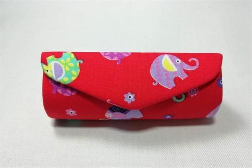 (OB014-6) リップケース(ミニミラー内蔵)カラフル象&レッド