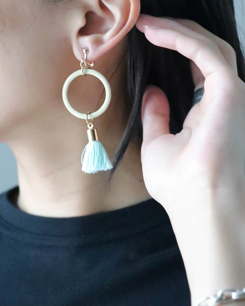 fringe × circle earrings