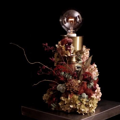 hydrangea red&gold lamp vintage