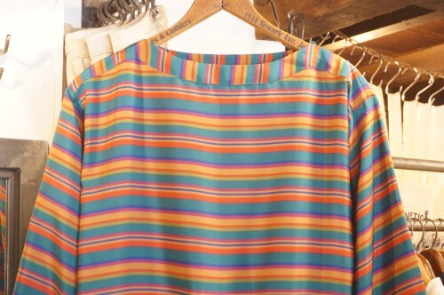 80's Liz Claiborne multicolored stripe pull over Top