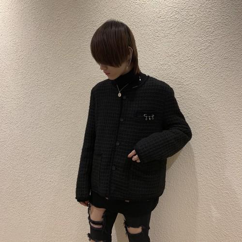 【即納】韓国ファッション ツイードノーカラージャケット