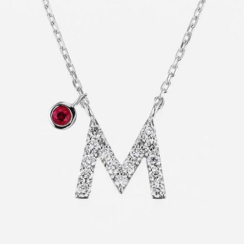 Initial K18WG Diamond【M】Pendant Necklace with Charm (ダイヤモンド イニシャル【M】ペンダントネックレス チャーム付き)