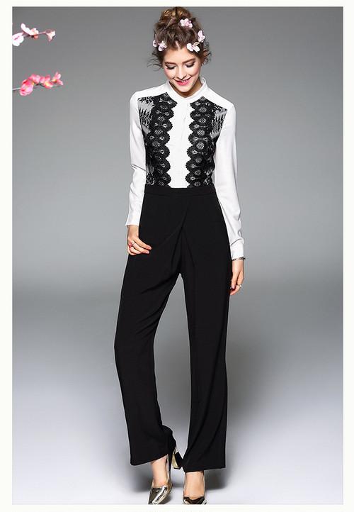 刺繍デザインシャツセット風オールインワン