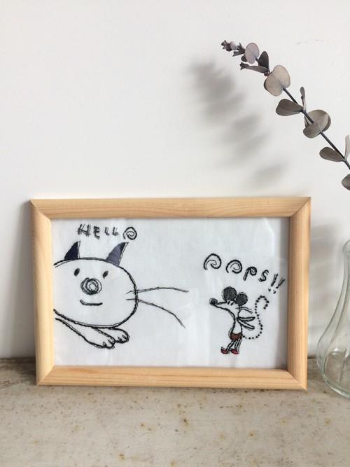フレーム入りネコとネズミ刺繍②