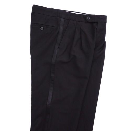 ユーロ サイドライン 2タック スラックス ブラック×ブラック 実寸(W30程度) OPTIジッパー