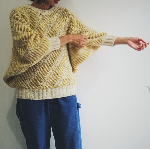 yellow×white knit