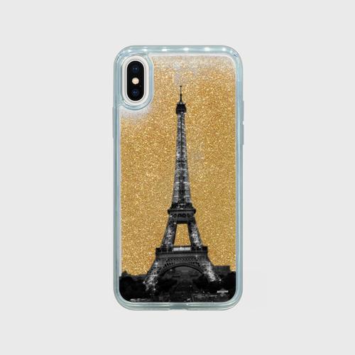 Glitter La tour Eiffel ゴールド iPhoneケース