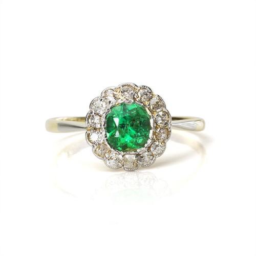 Edwardian Emerald Flower Cluster Ring