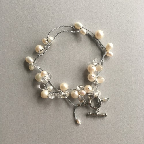 Pearl&crystal , necklace (white)