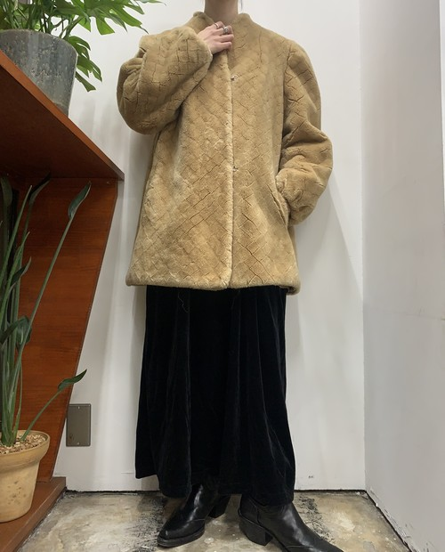 1980s MADE IN USA Versalles by Hillmoor diamond pattern fake fur coat 【ML位】