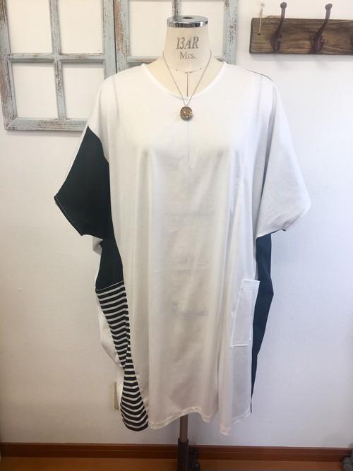 再販×3 モモンガみたいな❤️空を飛べそうにワイドなバイカラービッグTシャツワンピース 白(サイズフリー L〜 L L )