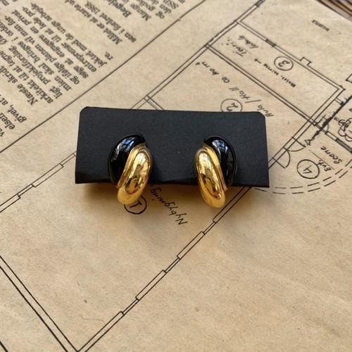 vintage earring /gold,black