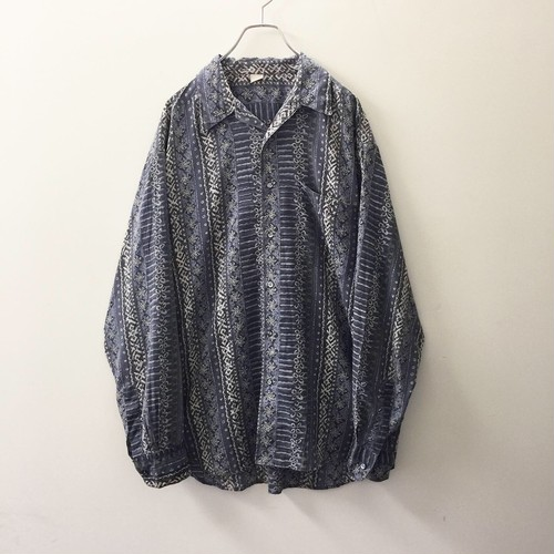オープンカラー 総柄シャツ ブルー ビスコース メンズ 古着