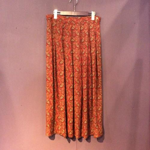 80's  red paisley  pattern design skirt [B 1369]