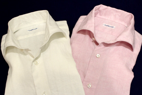 CADETTO ORIGINALS SHIRTS Herdmans Linen White&Pink