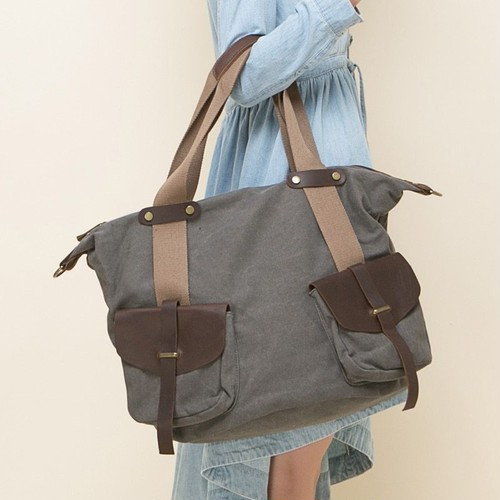 Shoulder Handbag Large Capacity Bag Canvas Patchwork Messenger Casual Handbag カジュアル ハンドバッグ (YYB99-3832321)