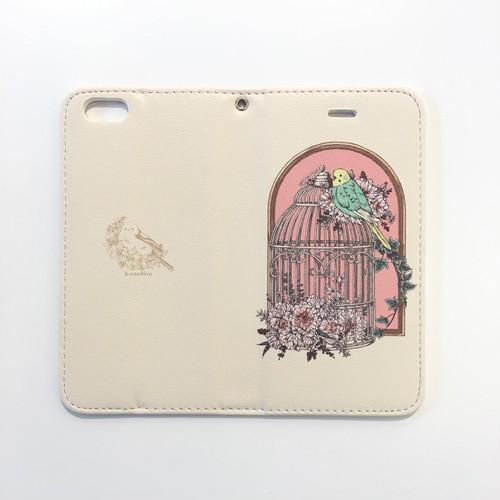 HALKA「鳥かごとセキセイインコ」iPhone6/6S/7用ケース ブックタイプ