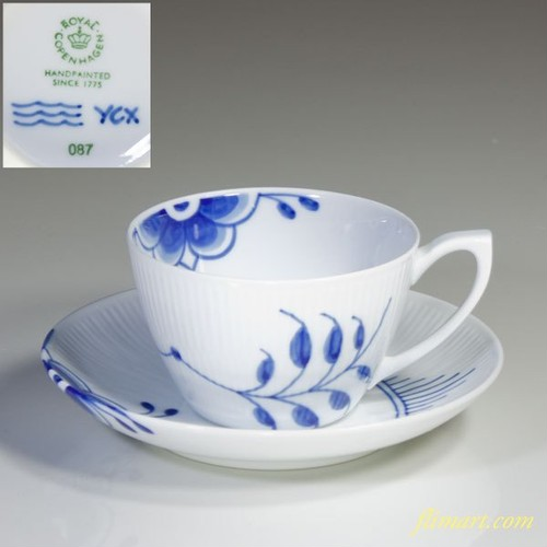 ロイヤルコペンハーゲンブルーフルーテッドメガカップ&ソーサーT1397