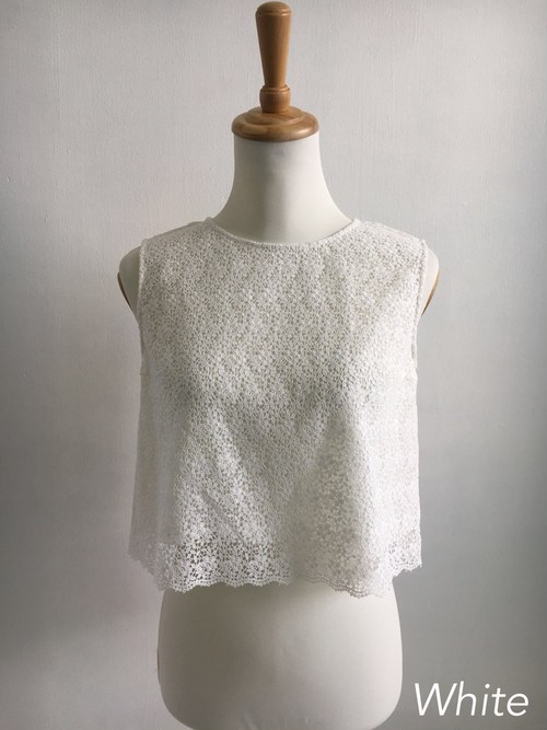 Bilitis dix-sept ans (ビリティス・ディセッタン) Guipure Lace Cropped Tops