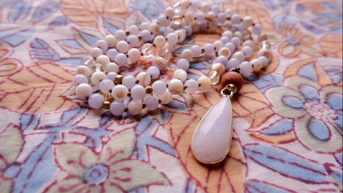 Japa Mala : Moonstone & Blue Lace Agate & Citrine & Mother of Pearl