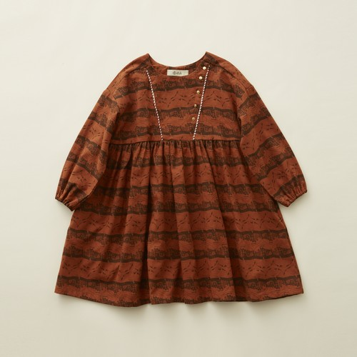 《eLfinFolk 2020AW》castle printed dress / brick red / 110-130cm