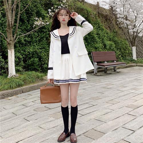 【セットアップ】キュートセーラーカラーカーディガン+ストライプ柄スカート二点セット