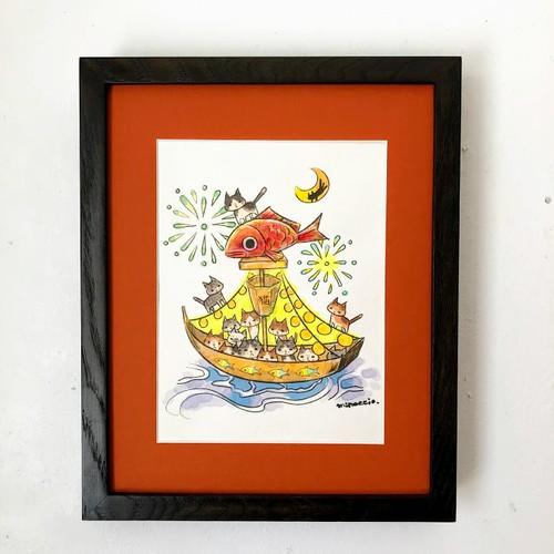 かわさきみな「猫と舟と水辺の夏祭り」