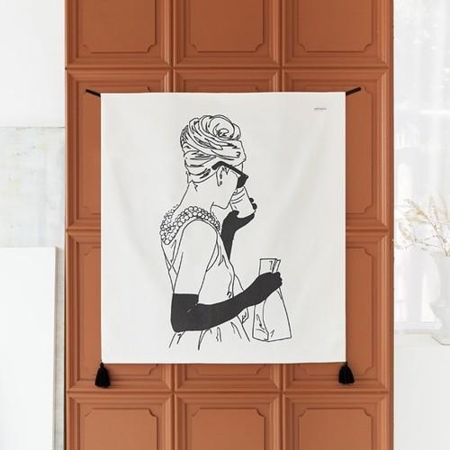 【在庫限り】roman holiday illustration fabric poster / ローマの休日 イラスト ファブリックポスター タペストリー 有名映画 韓国 雑貨
