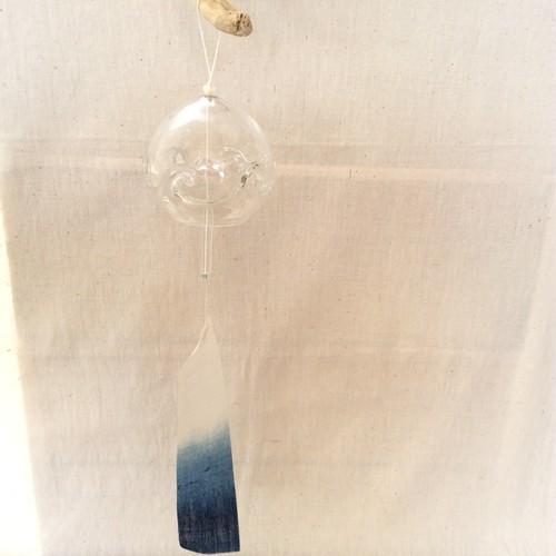 藍染風鈴【グラデーション、クリアガラス】