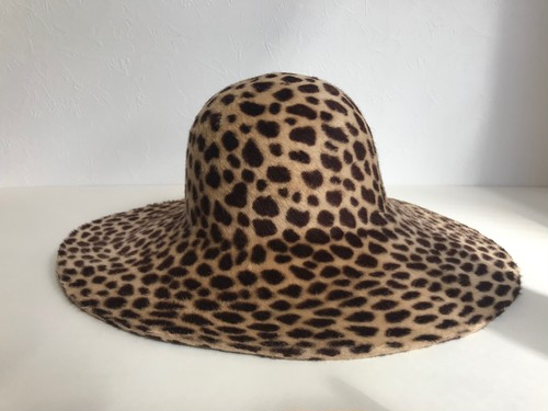Circle original handmade HAT「 Long hair leopard rabbit ribbon hat」
