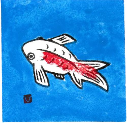 小版画/7月 金魚