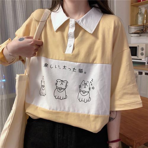 【トップス】poloネックins日系ゆったり韓国風ファッションTシャツ