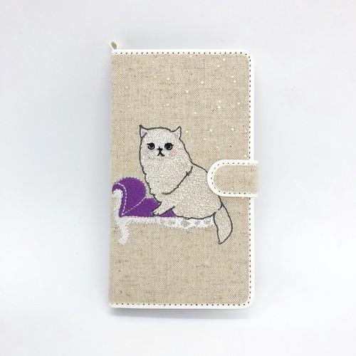 【SE2にちょうど良いMサイズ】ソファネコ手帳マルチスマホケース【綿麻生地ドット箔プリント】