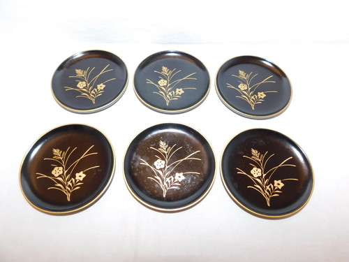 草花模様コースター(6客) lacquer Japanese tea six saucers(No7)