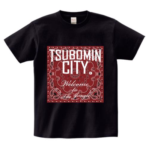 TSUBOMIN / BANDANA TSUBOMIN CITY T-SHIRT BLACK x BURGUNDY