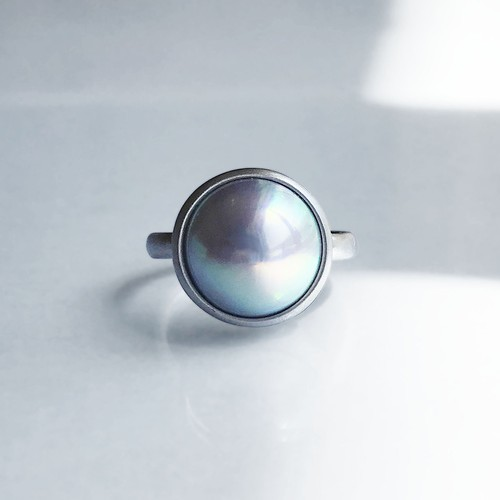 Mabe Pearl Ring -Grey / Blue-