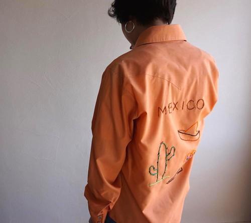 1970's [BAR-M RANCHER] MEXICO刺繍 ウエスタンシャツ 表記(S)