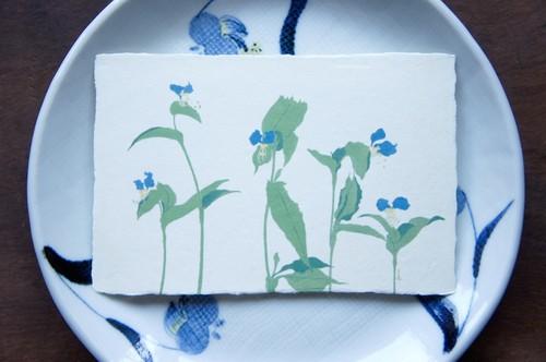 和紙の絵葉書『朝咲き露草』