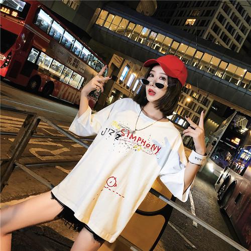 【トップス】ゆったりプリントアルファベット海外トレンドラウンドネックTシャツ