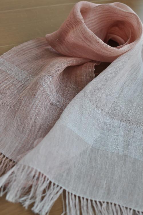 手織りリネンスカーフ ~柔らかな土~
