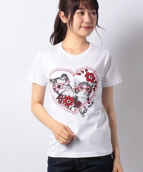 #763 Tシャツ HEART CAT