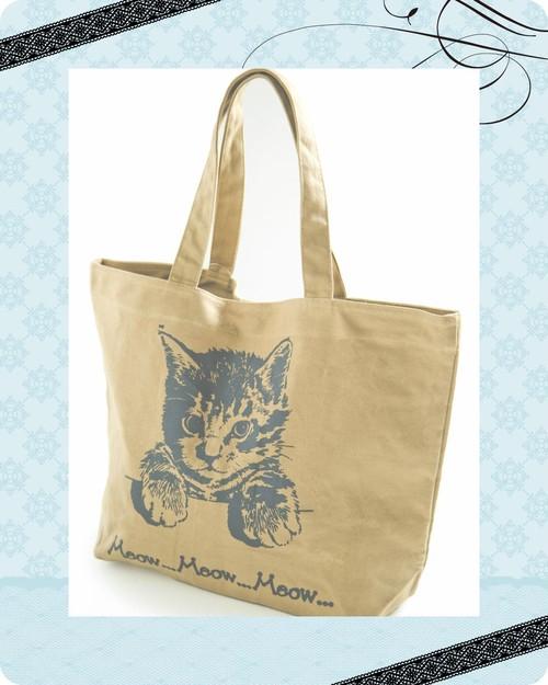 可愛いキャット柄!書類も入る便利サイズの猫ちゃんトートBag