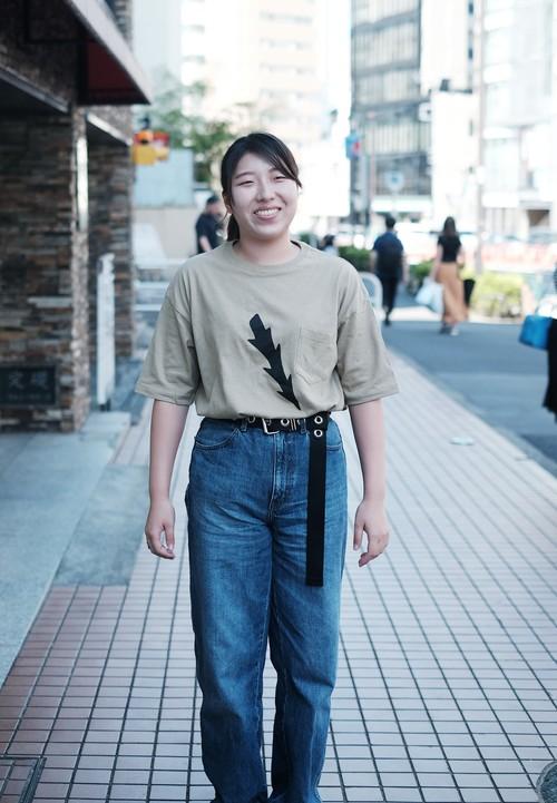 骨角器Tシャツ(銛先/ビックシルエット ポケットTシャツ/サンドカーキ)