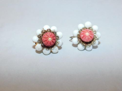 オレンジ色イヤリング(ビンテージ) orange color vintage earrings