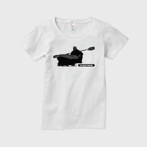 レディースTシャツ パドリングシルエット(Leo R. Yamada)・黒 白